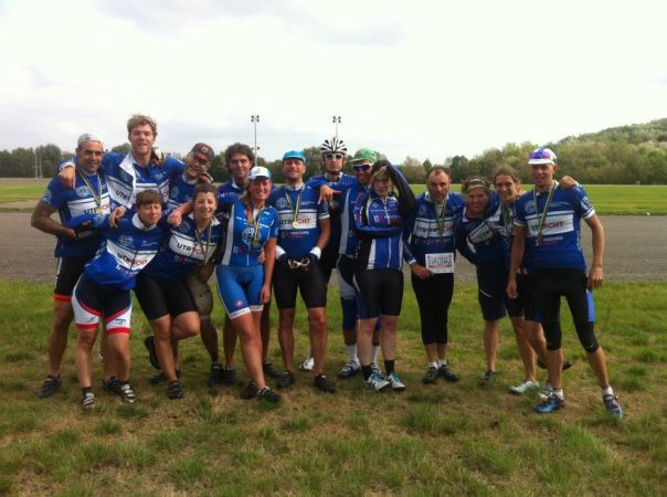 """A picture of the team just after the World Championships bicycle racing in the Netherlands last year"""